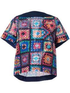 стеганая футболка с лоскутным узором Sacai