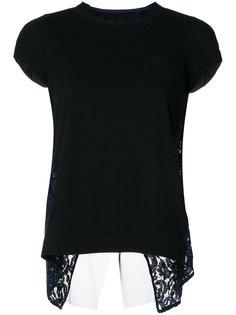 кружевная футболка с открытой спиной Sacai