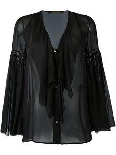 прозрачная блузка с V-образным вырезом Roberto Cavalli