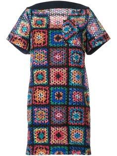 ажурное платье с лоскутным узором Sacai