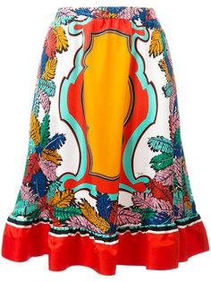 юбка А-образного кроя с лиственным принтом Emilio Pucci