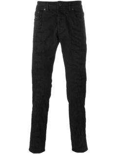 джинсы с вышивкой и рваными деталями Diesel Black Gold
