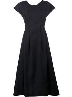 платье длины миди с рукавами-кап Jil Sander Navy