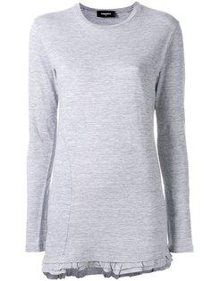 удлиненная футболка с оборками Dsquared2