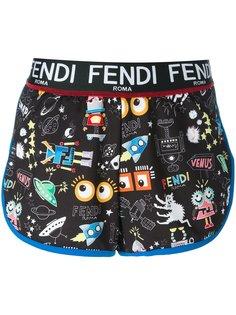 шорты с комбинированным принтом Fendi