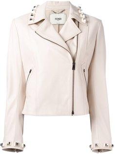 кожаная укороченная куртка с заклепками Fendi