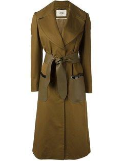 пальто с завязками на поясе Fendi