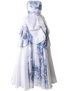 вечернее платье с цветочным принтом без бретелек Isabel Sanchis