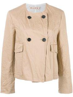 двубортная куртка с эффектом помятости Marni
