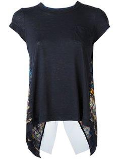 футболка с этническим узором и отрытой спиной Sacai
