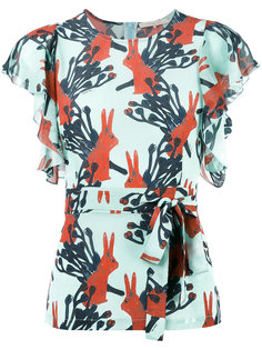 rabbits print belted blouse LAutre Chose