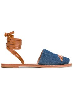 джинсовые сандалии с ремешком на щиколотке Red Valentino