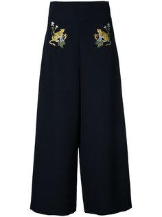 укороченные брюки с вышивкой тигров Vivetta