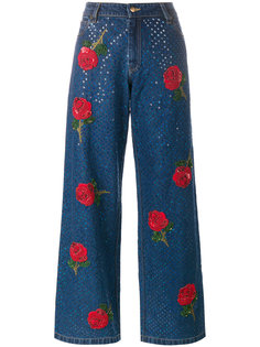 rose embroidered sequin jeans Ashish