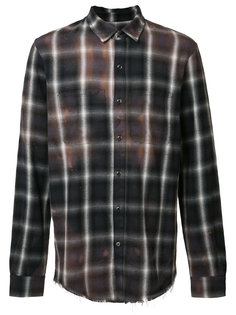 stained effect plaid shirt Amiri