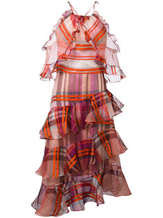 клетчатое платье с отделкой оборками Daizy Shely