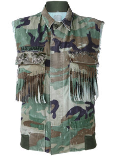 fringed pockets military waistcoat  As65