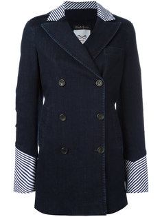 striped collar and cuffs double breasted jacket Rossella Jardini