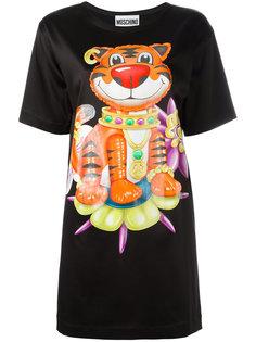 платье-футболка с декорированным принтом тигра Moschino