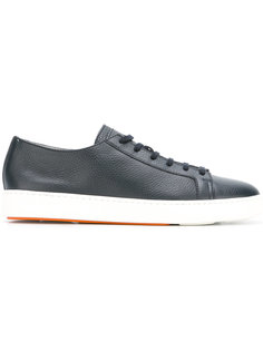 grained lace up trainers   Santoni