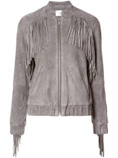 fringe trim bomber jacket Anine Bing