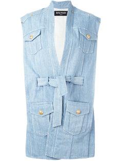 объемная джинсовая куртка с поясом Balmain