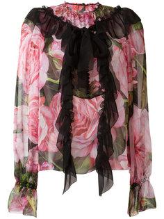 блузка с рюшами и принтом роз Dolce & Gabbana
