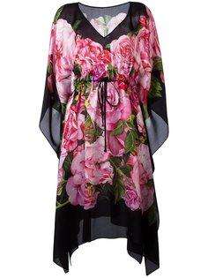 платье-кафтан с принтом роз Dolce & Gabbana