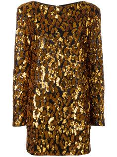 леопардовое платье с пайетками Balmain