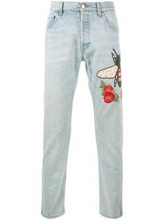 выбеленные джинсы с вышивкой Gucci
