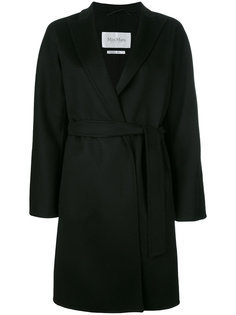 пальто с поясом и заостренными лацканами Max Mara