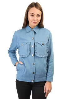 Куртка джинсовая женская The White Pepper Ruffle Detail Oversize Denim With Patches Blue