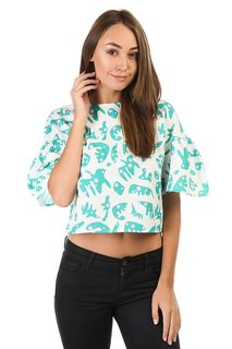 Топ женский The White Pepper Button Back Ruffle Sleeve Top White Tropical Print