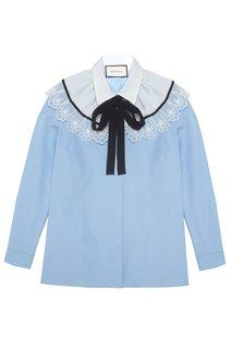 Хлопковая блузка с кружевом Gucci
