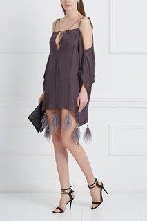 """Шелковое платье """"Регина"""" с перьями марабу Esve"""