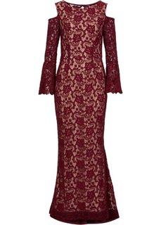 Кружевное платье (темно-синий/светло-коричневый) Bonprix