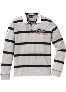 Футболка-поло Regular Fit с длинным рукавом (светло-серый меланж/черный в п) Bonprix