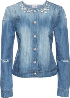 Джинсовая куртка со стразами (белый деним) Bonprix