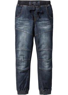 Грубоватые джинсы Loose Fit, уплотненные в области колен (темно-синий «потертый») Bonprix