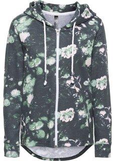 Трикотажная куртка (темно-зеленый с рисунком) Bonprix