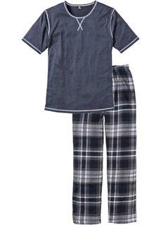 Пижама (синий меланж/в клетку) Bonprix