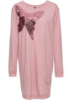 Трикотажное платье с карманами (розовый меланж) Bonprix