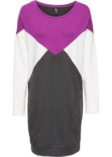 Трикотажное платье (сине-зеленый/серый меланж/крем) Bonprix