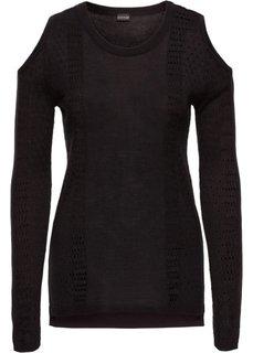 Вязаный пуловер с вырезами (белый) Bonprix