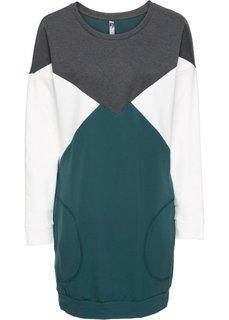 Трикотажное платье (серый меланж/фиолетовый/кремов) Bonprix
