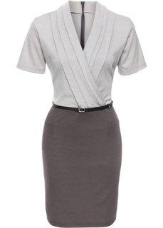 Платье в деловом стиле (серый/светло-серый) Bonprix