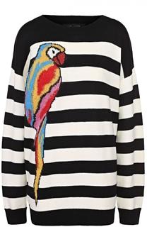 Удлиненный пуловер прямого кроя в контрастную полоску Marc Jacobs
