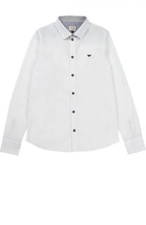 Рубашка из хлопка с логотипом бренда Giorgio Armani