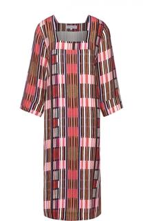 Платье прямого кроя с контрастным принтом и квадратным вырезом Apiece Apart