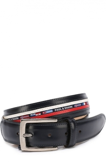 Кожаный ремень с контрастной отделкой и текстильной вставкой Paul&Shark Paul&Shark